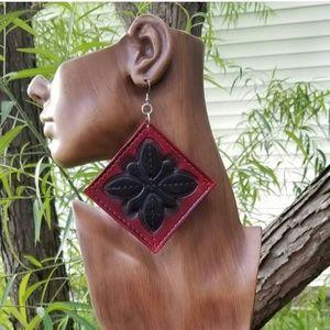 Hand-Made Leather Diamond Shaped Earrings